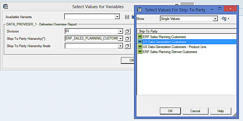 Select Values for Variables in BEx Analyzer (1)