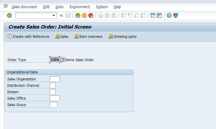 Create Sales Order Initial Screen
