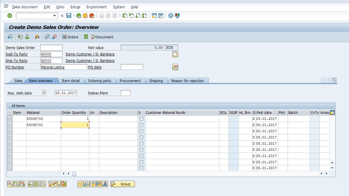 Enter Sales Order Data