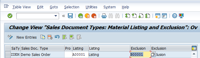 Assign Exclusion to Sales Document Types