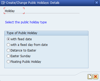 Figure 4: Select the Public Holiday Type