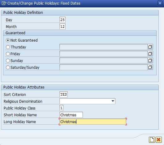 Figure 6: Create a Holiday for Christmas