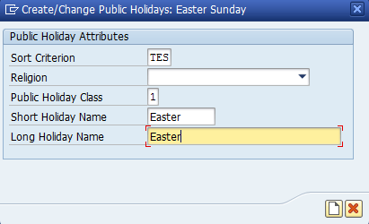 Figure 12: Create a holiday for Easter