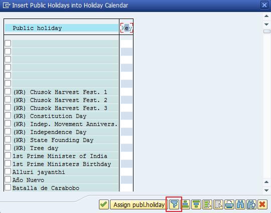 Figure 23: Insert Public Holidays