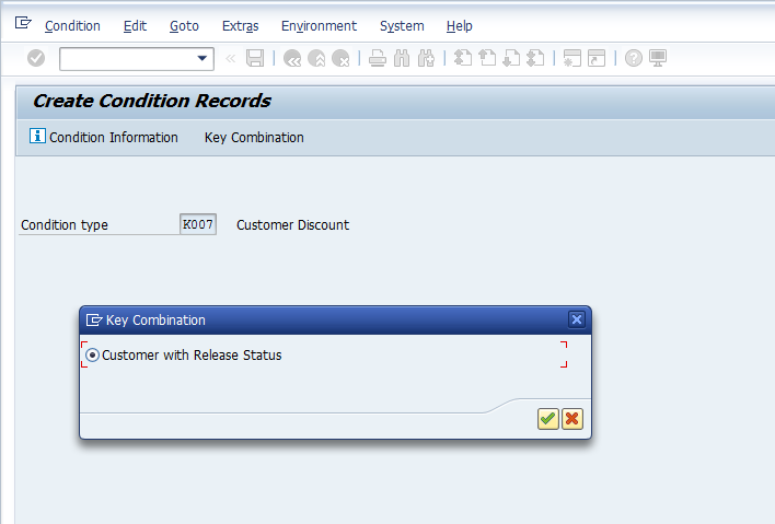 Select Key Combination for Condition Record