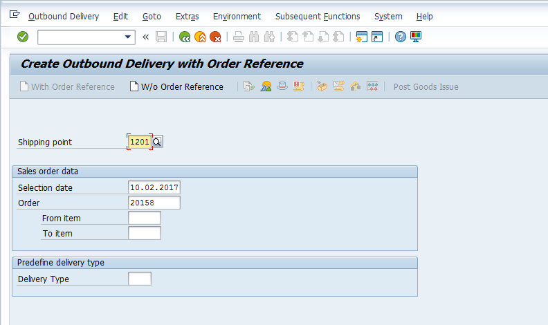 Create Delivery Initial Screen