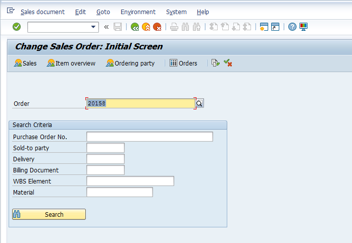 Change Sales Order Initial Screen