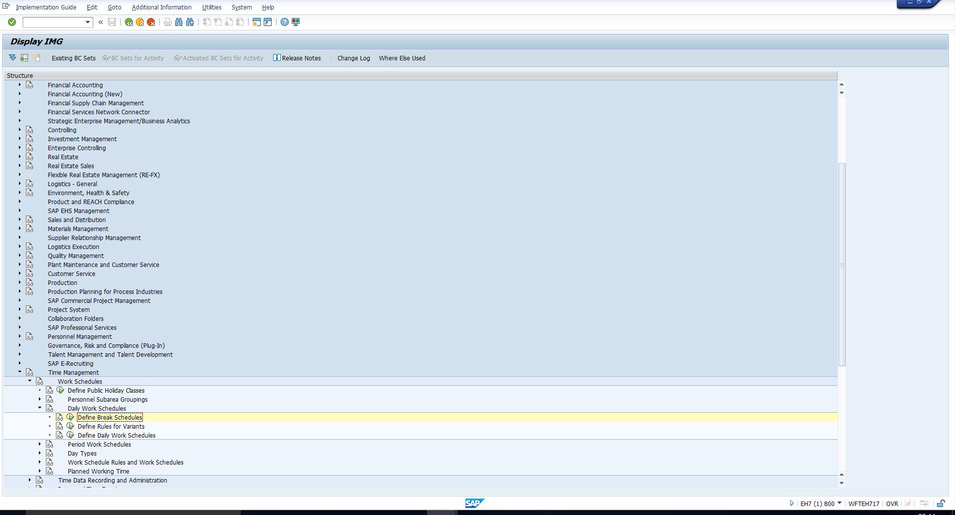 Figure 5: IMG Path to Configure SAP Break Schedules