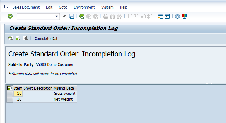 Incompletion Log