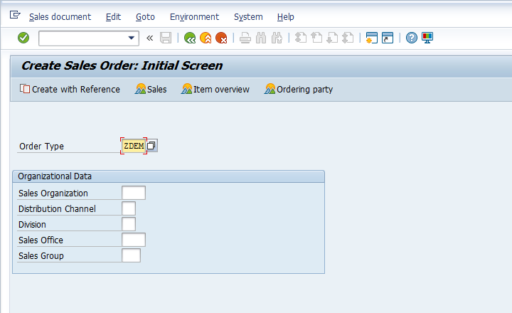Create Sales Order Initial Screen