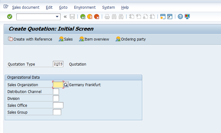 Create Quotation Initial Screen
