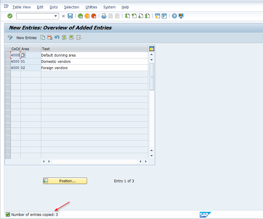 Dunning Area Configuration Screen – Copy Existing Entries