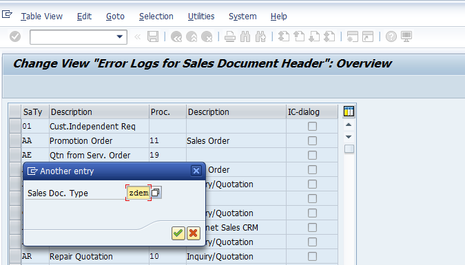 Sales Document Type Search