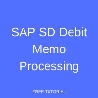 SAP SD Debit Memo Processing
