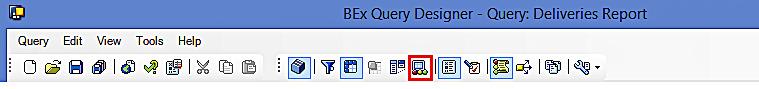 SAP BEx Query Designer: Toolbar (Exceptions)