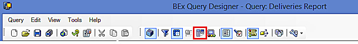 SAP BEx Query Designer: Toolbar (Conditions)