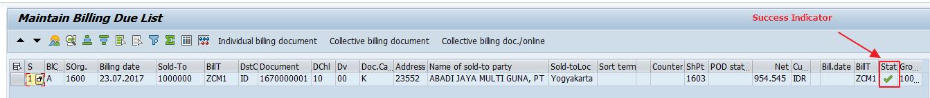 Successful Billing Status