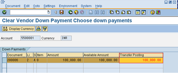 Select Down Payments for Transfer Posting