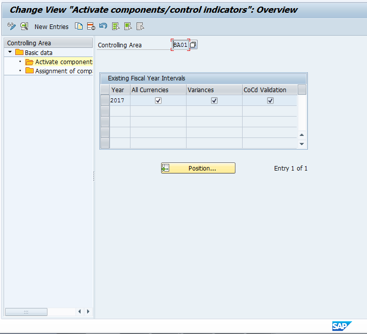 Control Indicators for SAP Controlling Area
