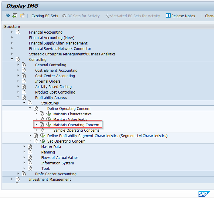 IMG Path to Configure SAP Operating Concern