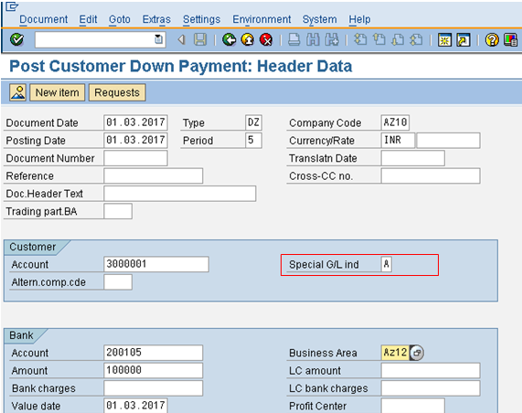 Post Customer Down Payment Initial Screen