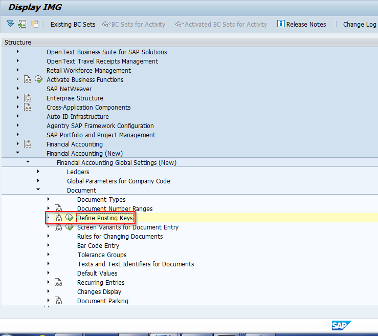 IMG Path for Defining SAP Posting Keys within Financial Accounting