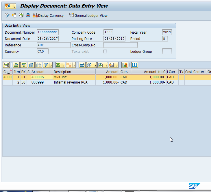 Display Document to see SAP Posting Key