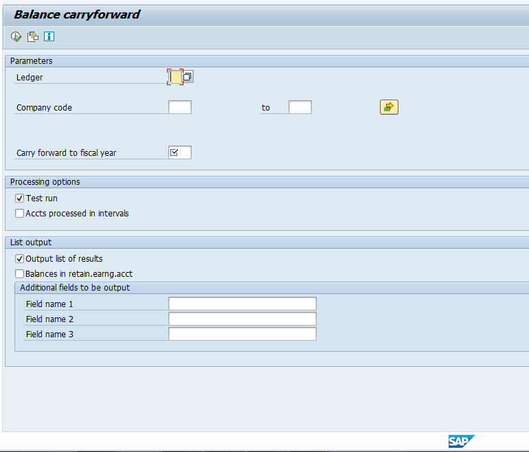 SAP G/L Balance Carryforward