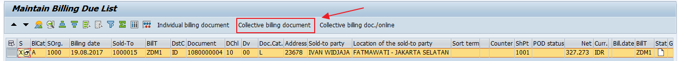 "Click the ""Collective Billing Document"" Button"