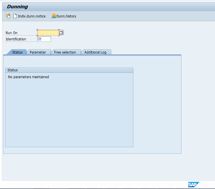 Initial SAP Dunning Program Screen