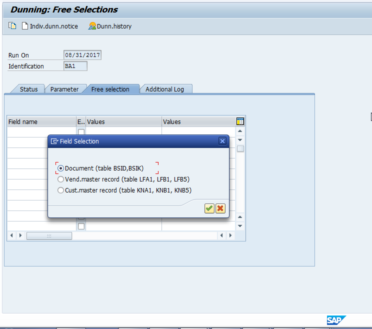 SAP Dunning Program Free Selection Screen