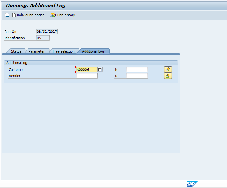 SAP Dunning Program Additional Log Screen