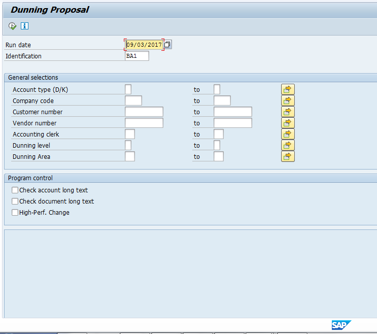 SAP Dunning Proposal Selection Screen