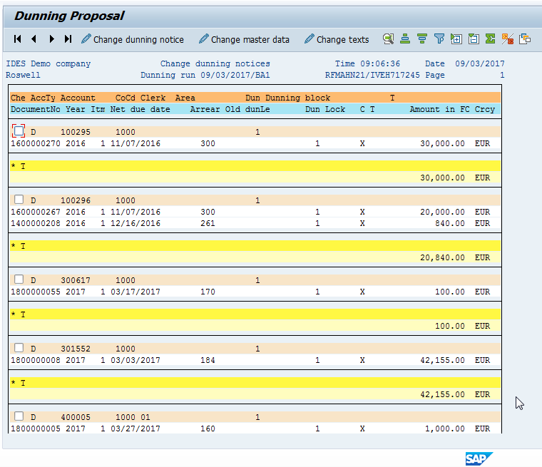 SAP Dunning Proposal SAP ALV Report