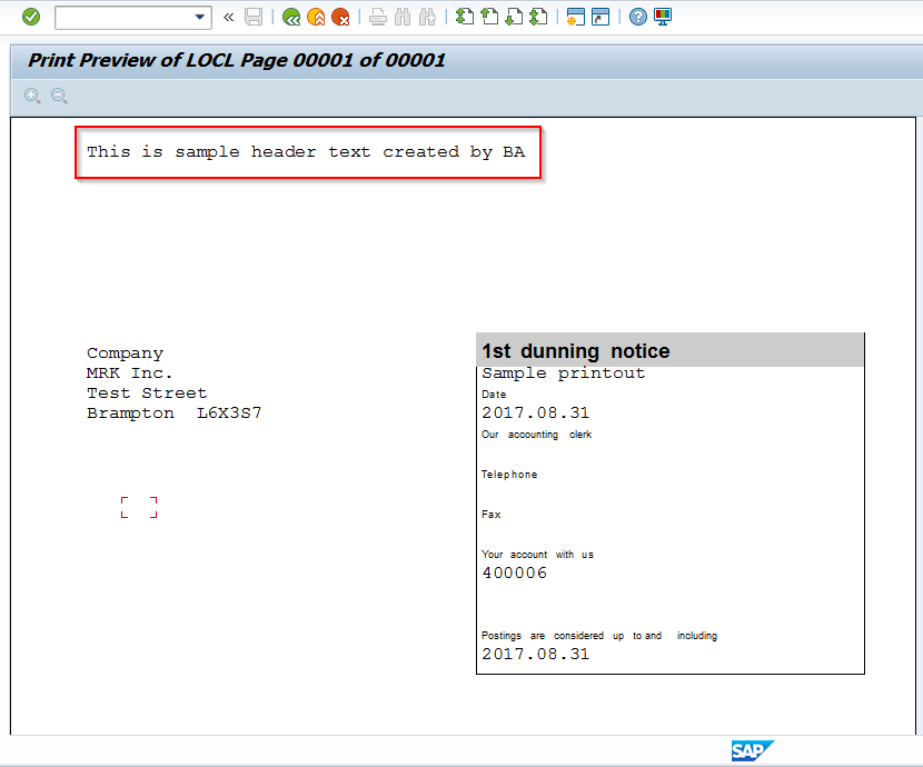 Header Text Applied to SAP Dunning Notice