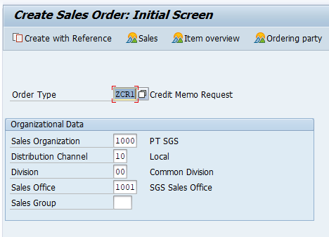 Create Credit Memo Request Initial Screen