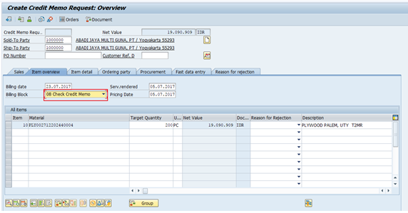 Create Credit Memo Request Overview Screen
