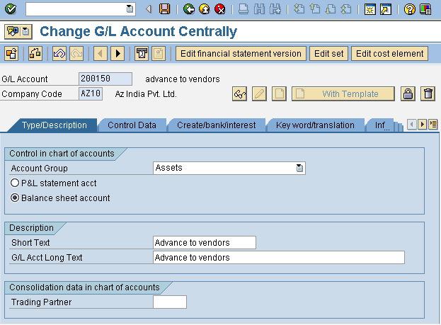 Create G/L Account Initial Screen