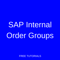SAP Internal Order Groups