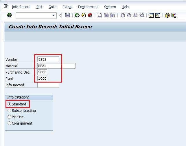 Create Info Record Initial Screen