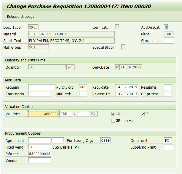 A Screen for Creation of Purchase Requisition will Appear