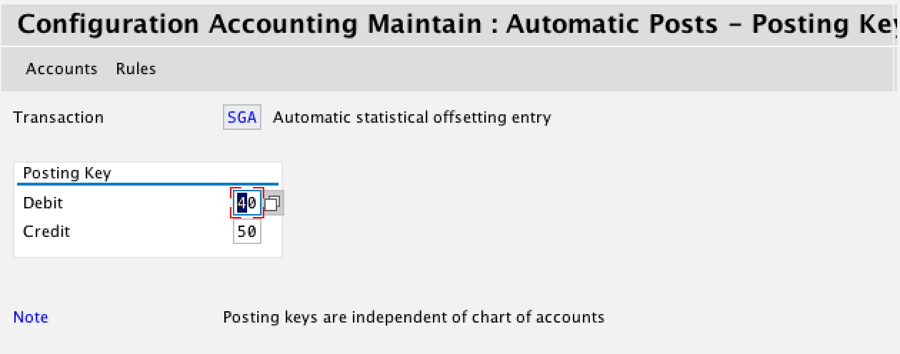 Statistical Entry Posting Keys