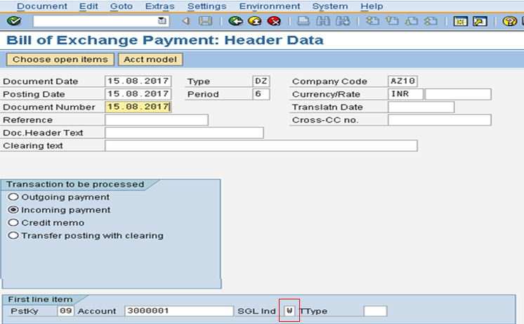 Bill of Exchange Payment Header Data