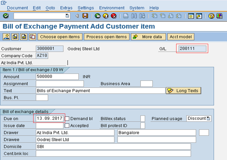 Bill of Exchange Payment Customer Item