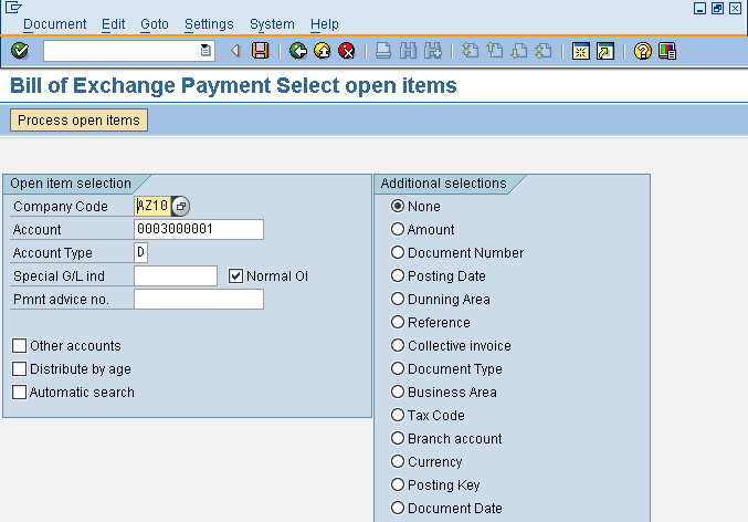 Bill of Exchange Payment Select Open Items Screen