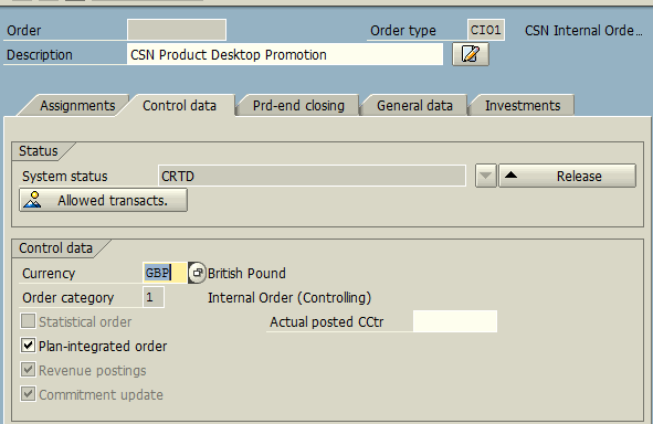 Create Real Order Control Data
