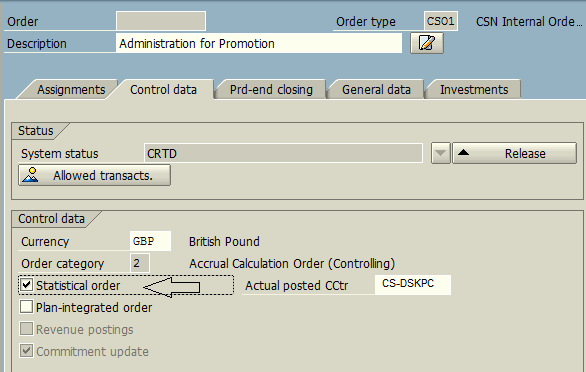 Create Statistical Order Control Data