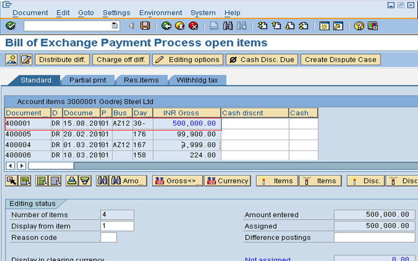 Bill of Exchange Payment Process Open Items Screen