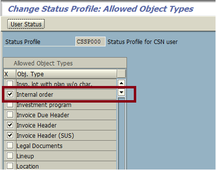 Assign Internal Order to Status Profile