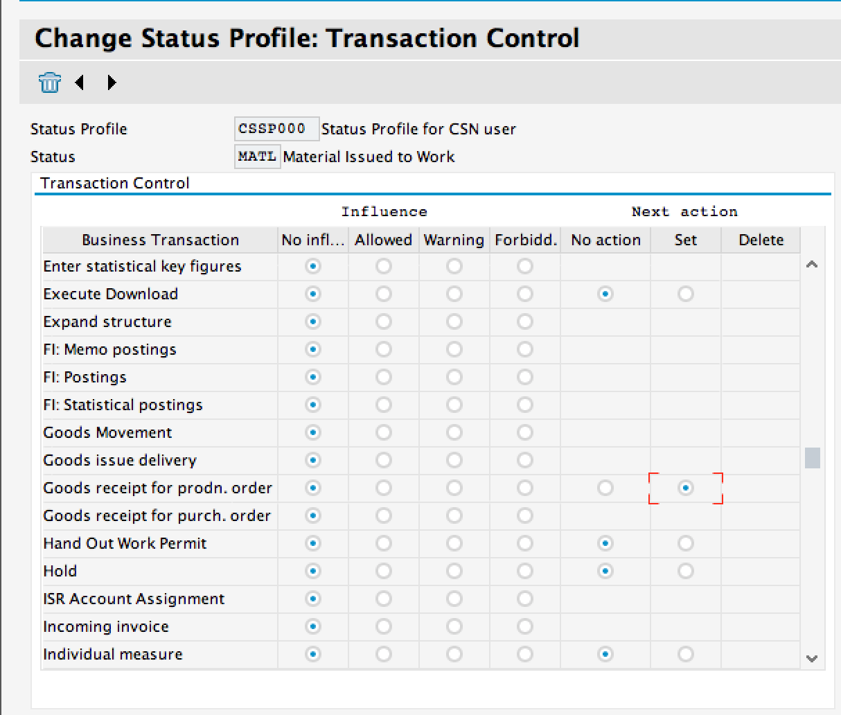 Update Transaction Control Settings